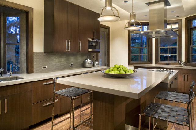 Contemporary Kitchen Idea In Denver With Flat Panel Cabinets And Dark Wood  Cabinets Part 12