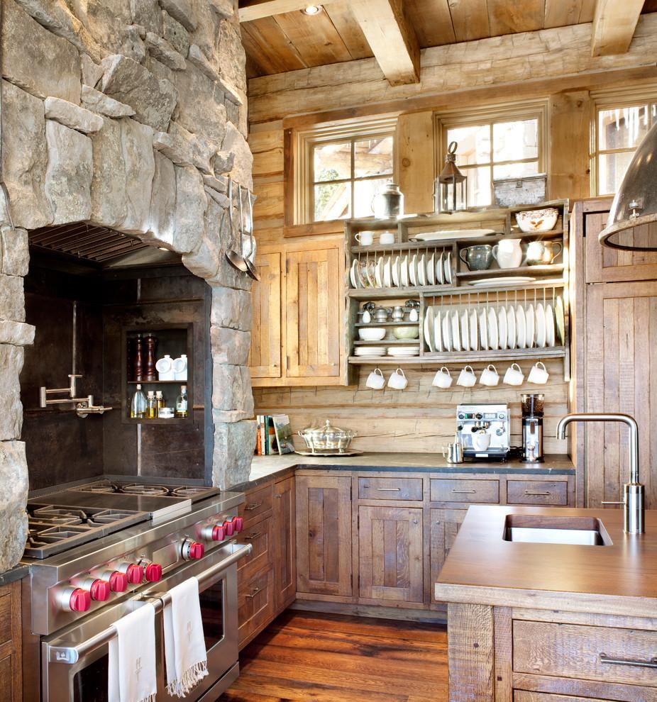 Mountain style kitchen photo in Atlanta with stainless steel appliances