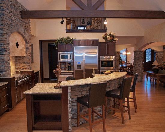 Craftsman Curved Island Seating Home Design, Photos & Decor Ideas