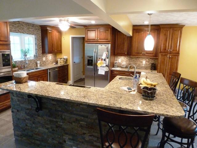 ... Stacked Stone Panels In Earth Tones Kitchen Elegant Kitchen Photo In  Huntington ...