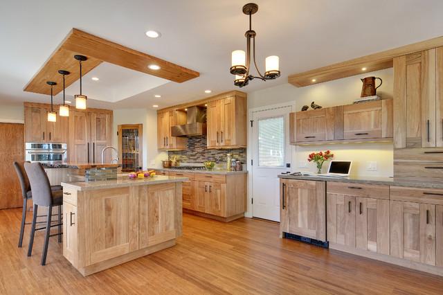 Kitchen - red birch cabinets, quartz and live wood edge ...