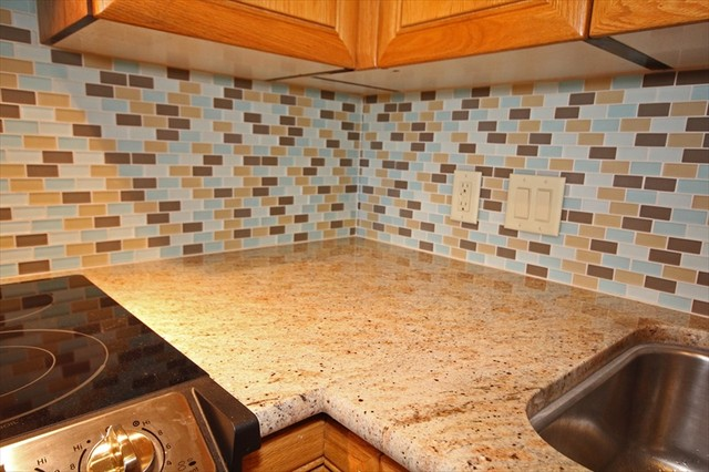 with new granite and beach glass tile backsplash eclectic kitchen