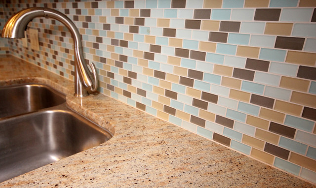 Kitchen redesign with new granite and beach glass tile backsplash eclectic kitchen hawaii - April latest tile design for kitchen ...