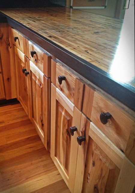 Kitchen reface Hickory/boxcar countertops - Rustic - Kitchen - denver - by Circle Goods Reclaimed