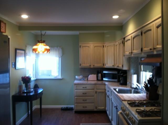 Kitchen Remodel Drywall Ceiling Paneled Walls Lighting
