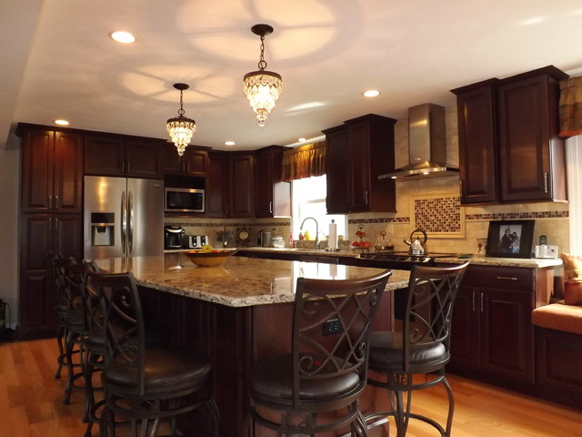 Kitchen remodel mediterranean kitchen boston for Chandelier over kitchen island
