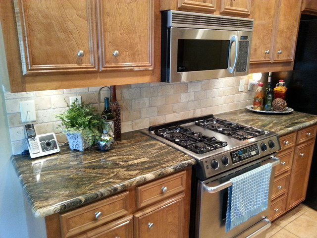 Kitchen Remodel Magma Gold Granite With Tile Backsplash