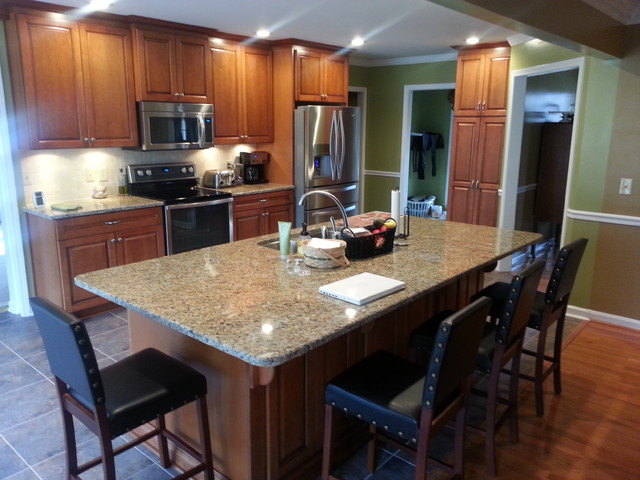 Kitchen Remodel Open Floor Plan Large Island W Seating Traditional Kitchen Nashville