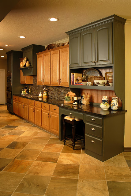 Kitchen Design Ideas With Oak Cabinets kitchen design oak cabinets black counters pale yellow walls black floral blinds school house lights house Kitchen Remodel Using Existing Oak Cabinets Traditional Kitchen