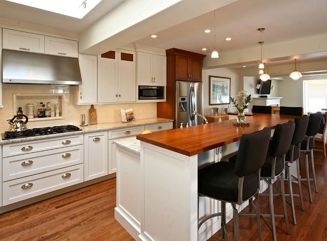 Remodeled Kitchens With White Cabinets Kitchen Remodel White & Cherry Cabinets  Traditional  Kitchen .