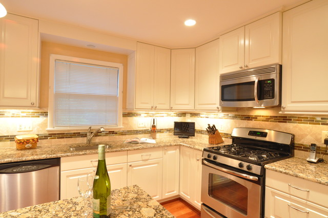 Kitchen Remodel White Cabinets Tile Backsplash Undercabinet Lighting Island Traditional
