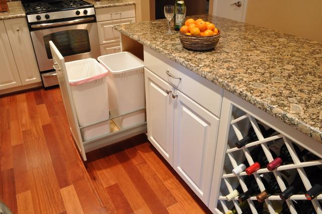Kitchen Remodel White Cabinets Tile Backsplash Undercabinet Lighting Island Traditional