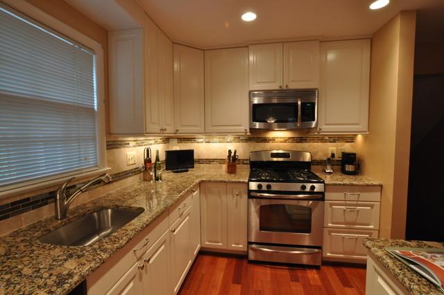 Kitchen Remodel, white cabinets, tile backsplash, undercabinet