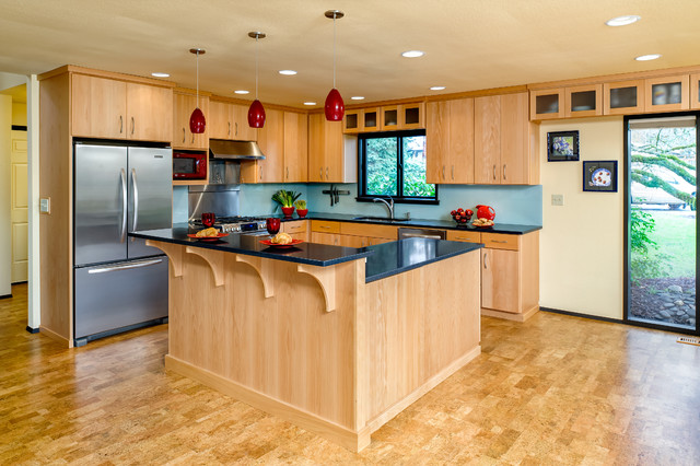 Kitchen Remodel With Red Accents Contemporary Kitchen