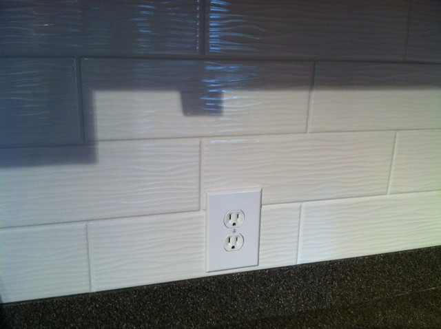 Kitchen Remodel With Wavy Textured Subway Tiles