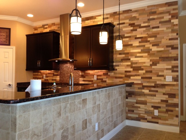 Amazing Kitchen Remodel Wood Accent Wall Contemporary Kitchen