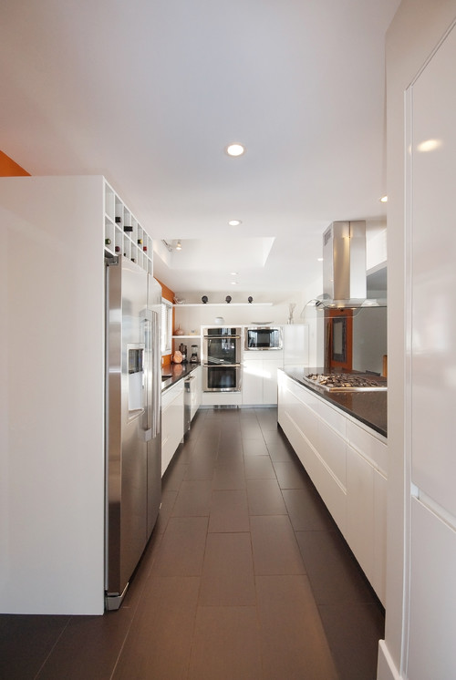 What kind of tile flooring is this thanks for any information - Contemporary narrow kitchen ...