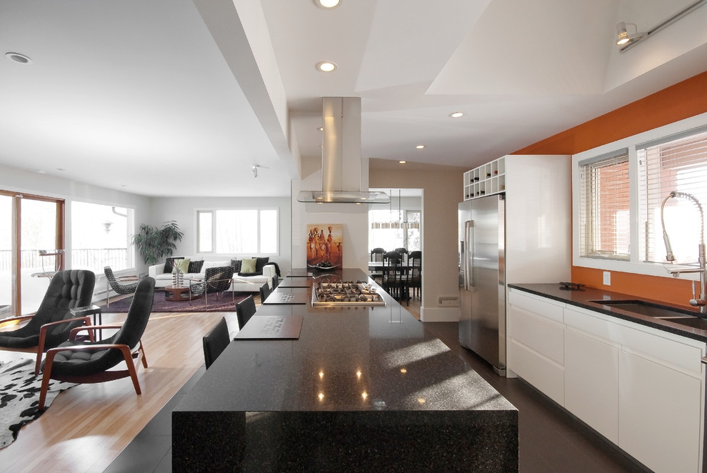 Open concept kitchen - contemporary galley open concept kitchen idea in Other with a double-bowl sink and quartz countertops