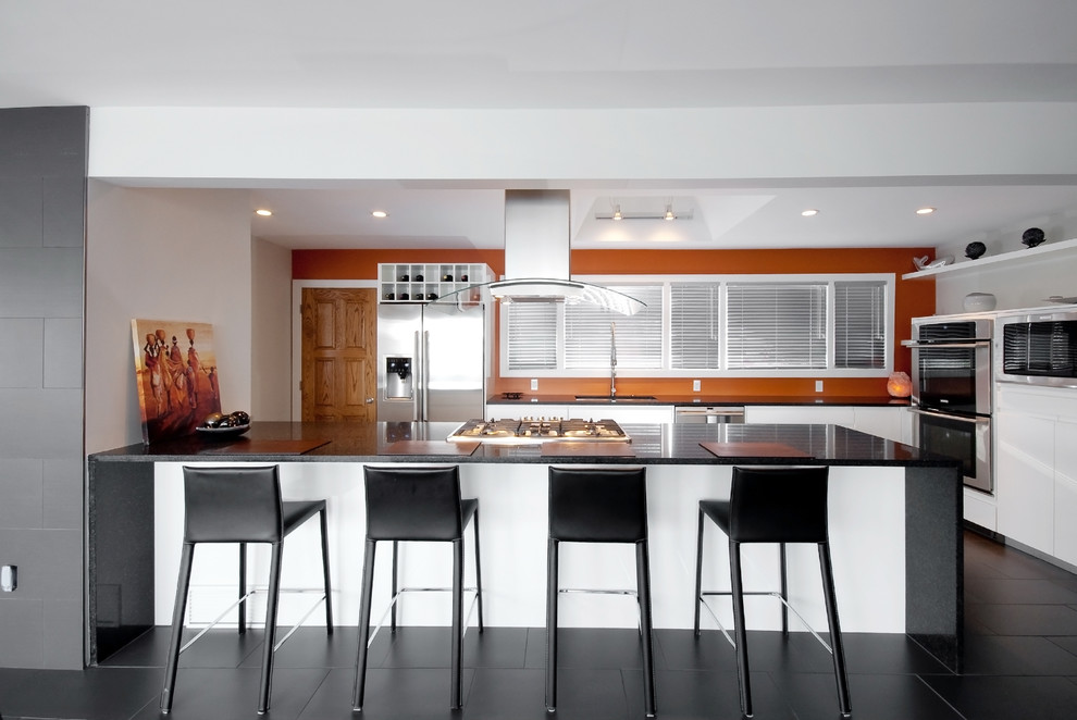 Example of a trendy galley kitchen design in Other with stainless steel appliances, flat-panel cabinets, white cabinets and quartz countertops