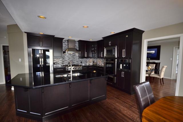 Kitchen Reno   Shaker Cabinets With Glass Backsplash Contemporary Kitchen
