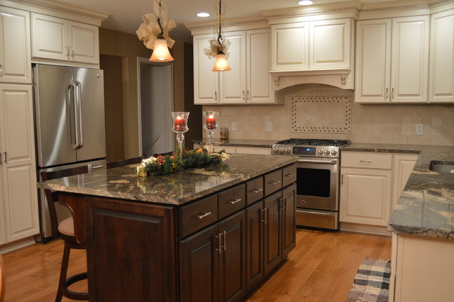 Kitchen Renovation designed with combo painted & stained cabinets traditional-kitchen