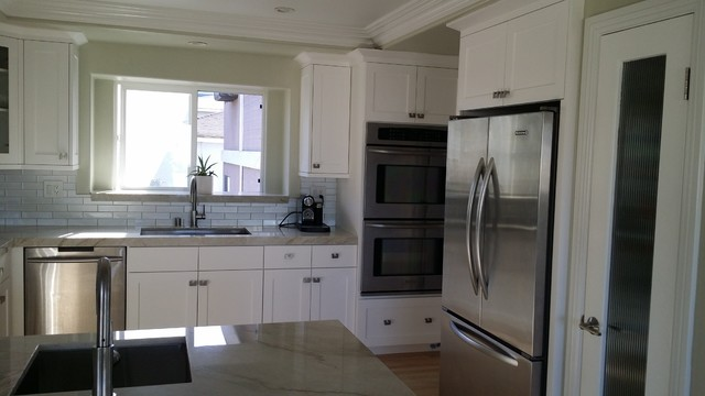 Kitchen renovation of cabinets with full overlay and counter tops