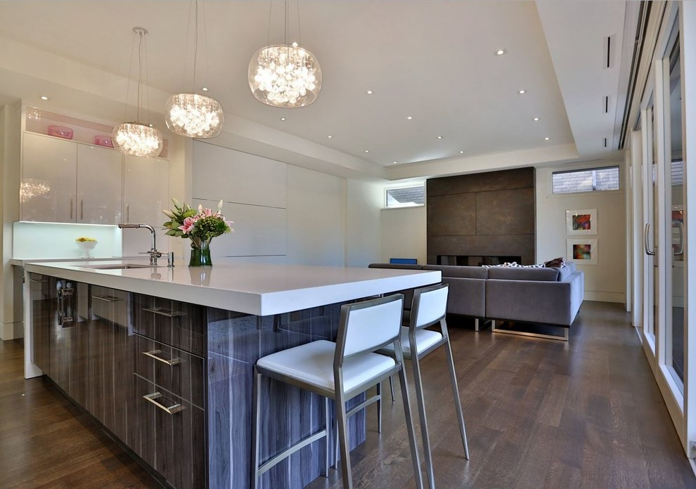 Eat-in kitchen - mid-sized contemporary l-shaped dark wood floor eat-in kitchen idea in Toronto with an undermount sink, flat-panel cabinets, white cabinets, white backsplash, stainless steel appliances and an island