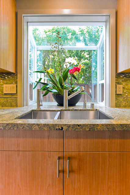 Kitchen Sink With Bay Window Tropical Kitchen
