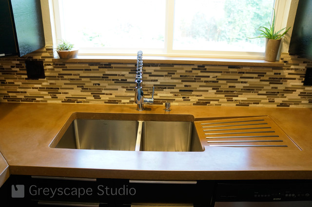 kitchen sink with integral drain board - contemporary - kitchen