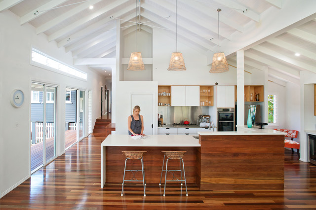 high vaulted ceiling lighting ideas - Kitchen Contemporary Kitchen brisbane by Skyring