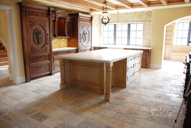 Kitchen Stone Floors Mediterranean Style - Mediterranean - Kitchen ...