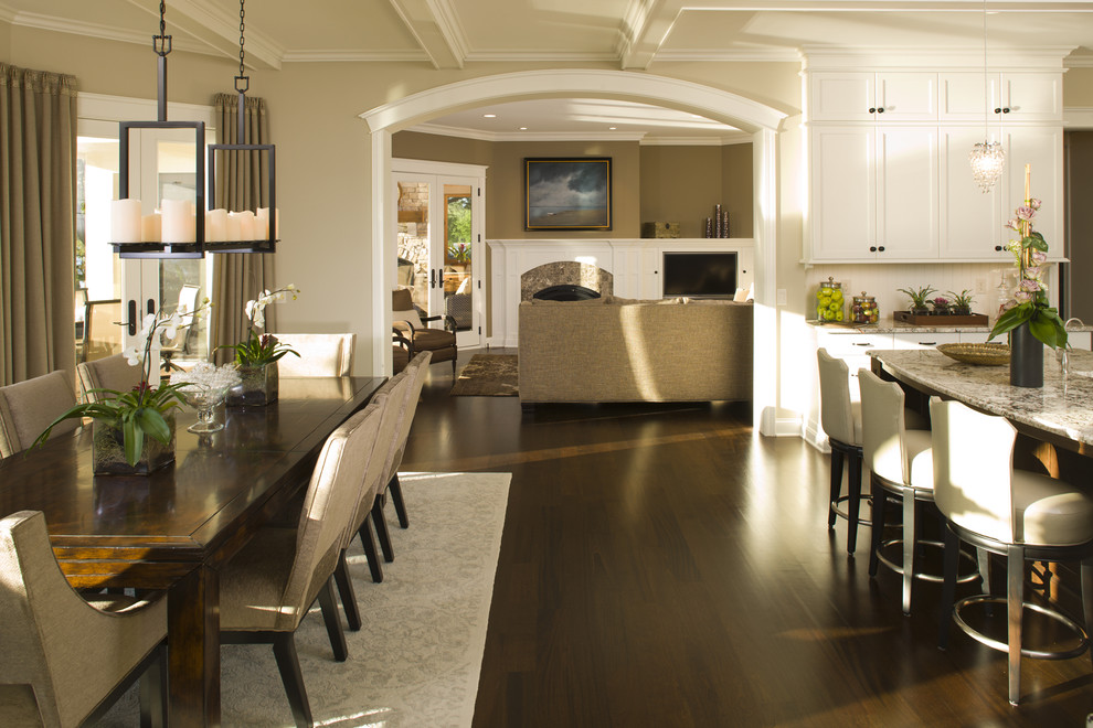 Inspiration for a timeless eat-in kitchen remodel in Minneapolis with white cabinets