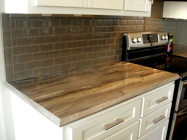 Kitchen Subway Tile Glass Backsplash Laminate Countertop Transitional Kitchen Wichita