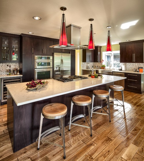 modern red glass hanging lighting for kitchens