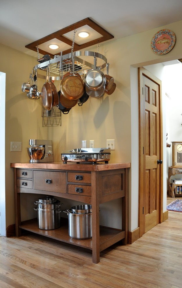 Example of an arts and crafts kitchen design in New York with copper countertops