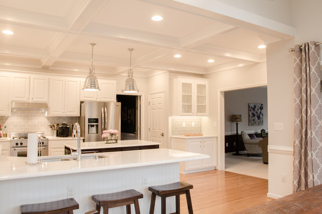Kitchen total makeover with cabinet refinishing & coffered ceiling - Transitional - Kitchen ...