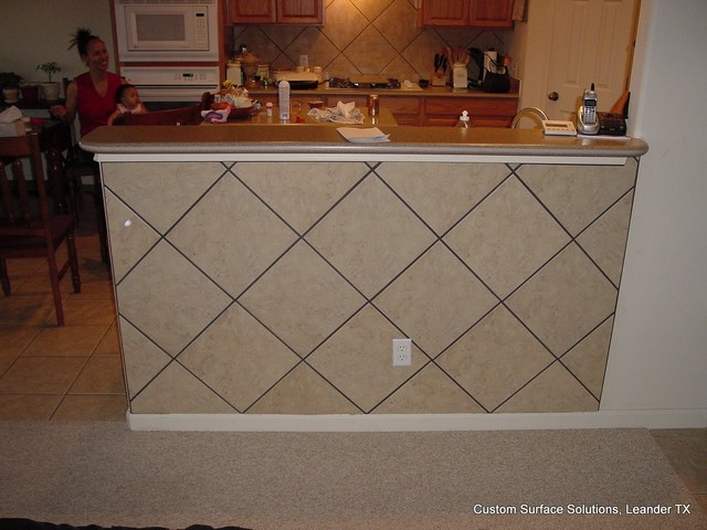 Kitchen - Under Bar Kick Space Tile Wall - Traditional - Kitchen - austin - by Custom Surface ...