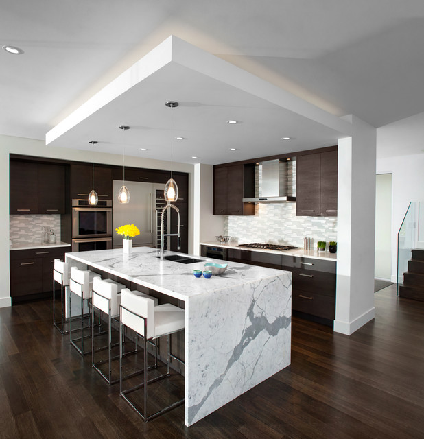 Kitchen waterfall island modern kitchen vancouver by meister construction ltd Modern kitchen design ideas houzz