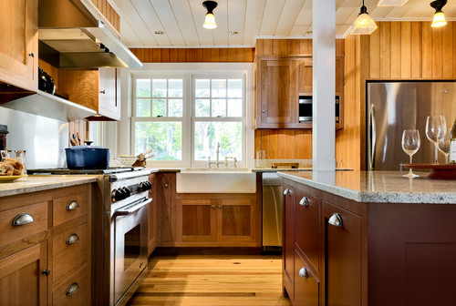 Painted wood ceiling in a beach style kitchen