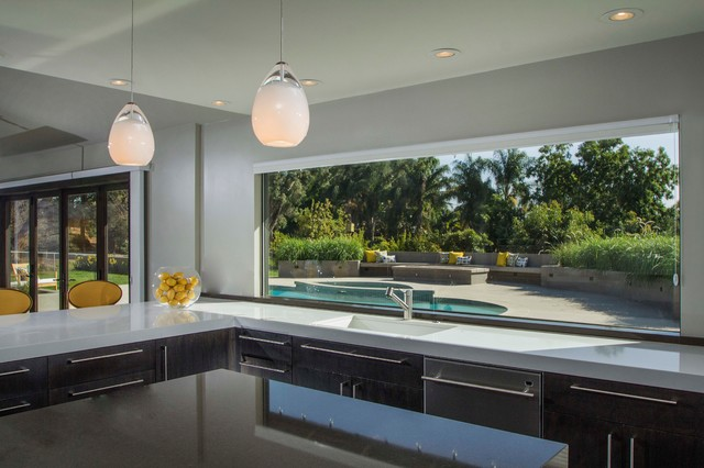 Kitchen Window Overlooking The Pool