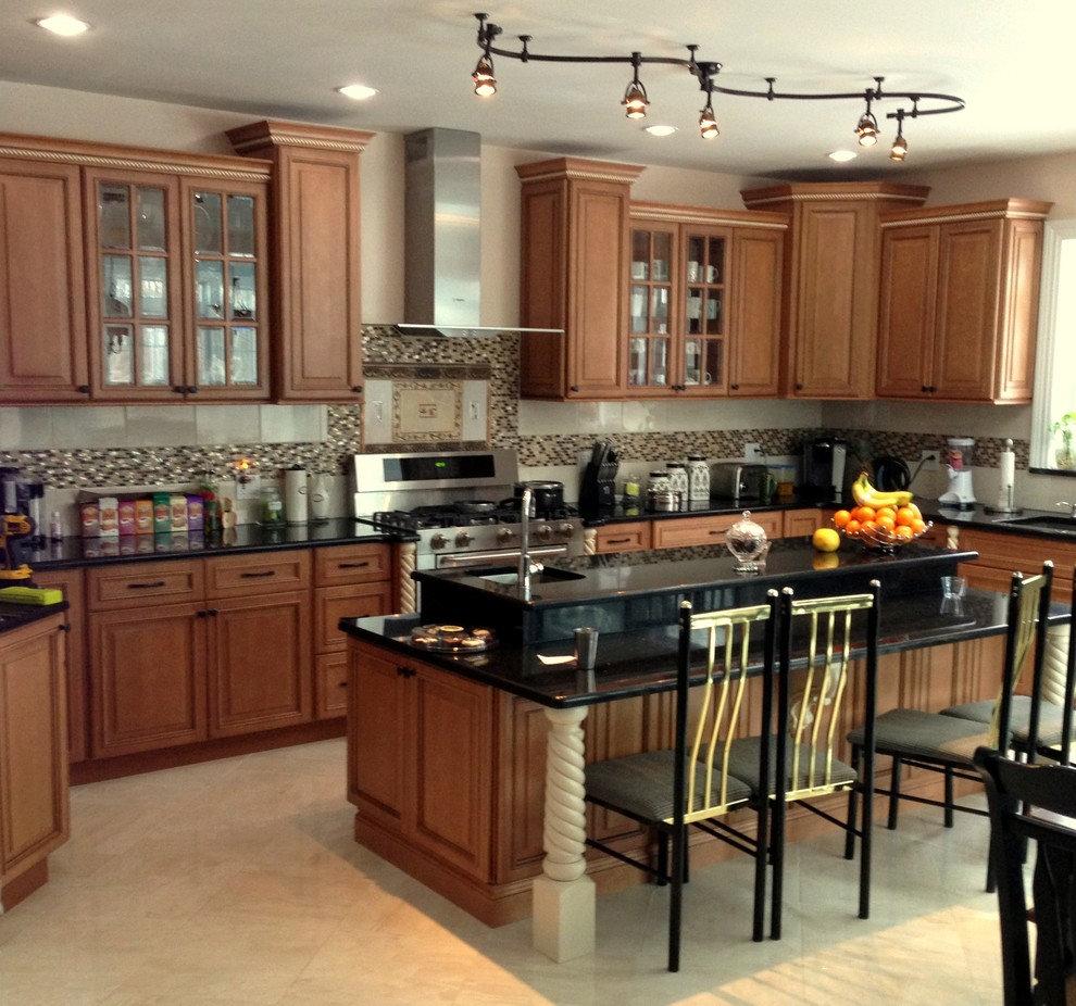 kitchen with 2 tier island  traditional  kitchen  new