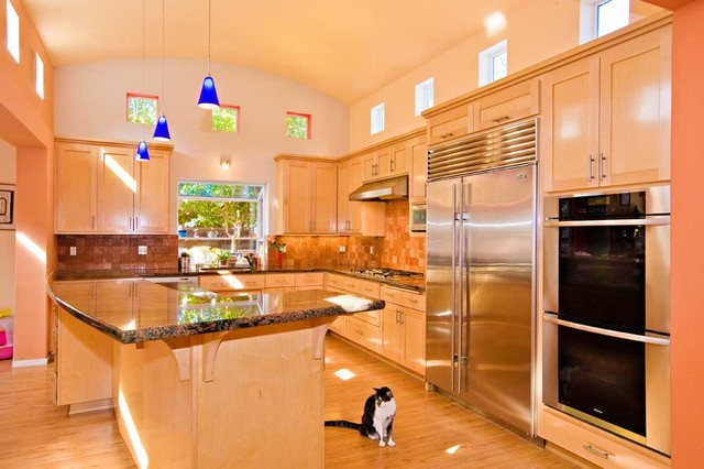 Kitchen With Barrel Vaulted Ceiling And Clerestory Windows