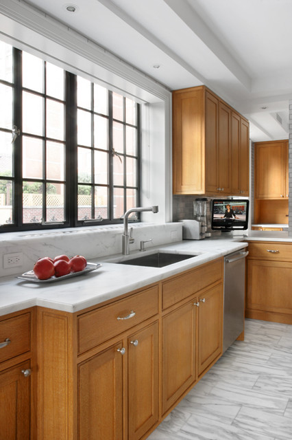 Kitchen with cerused oak cabinetry and a recycled aluminum for New york kitchen units