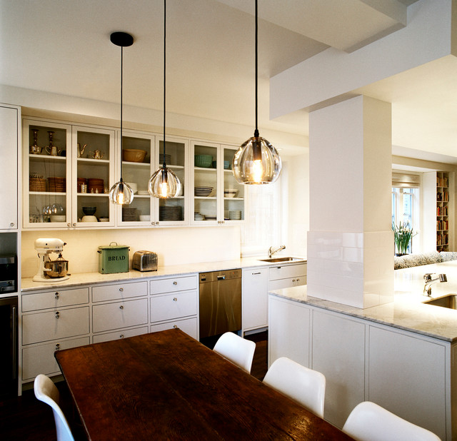 Kitchen with children's craft island and storage and Dining area contemporary-kitchen