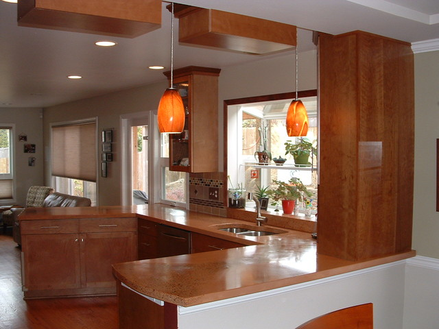 Kitchen with Concrete Countertop traditional-kitchen