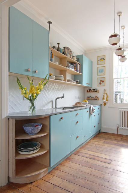 Kitchen With Copper Handles And Concrete Worktop Scandinavian Kitchen