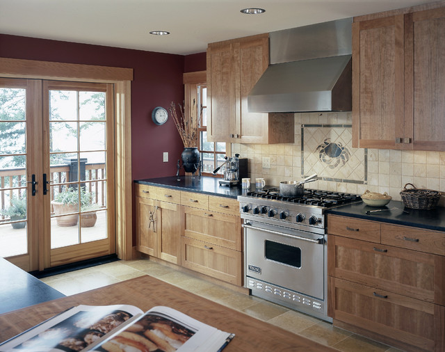 Kitchen With French Doors To Deck Traditional