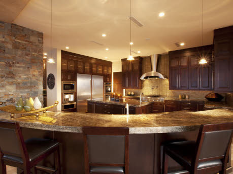 Kitchen with granite counters and glass tile splash - contemporary ...