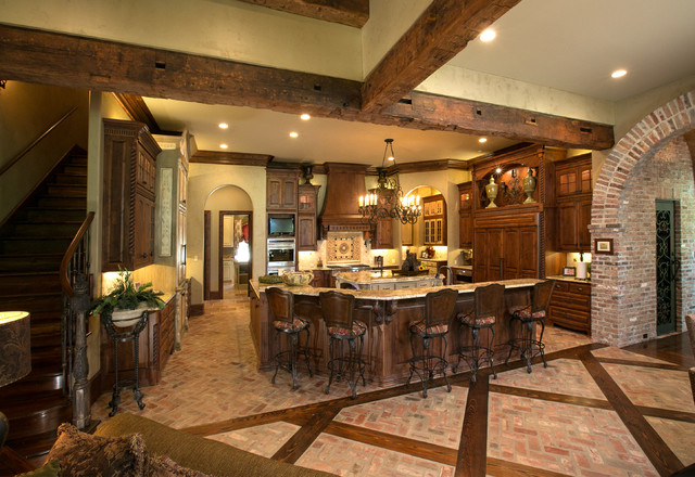 kitchen with inlaid wood in brick floor - mediterranean - kitchen