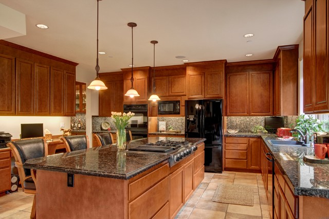 Kitchen With Island Stove Top